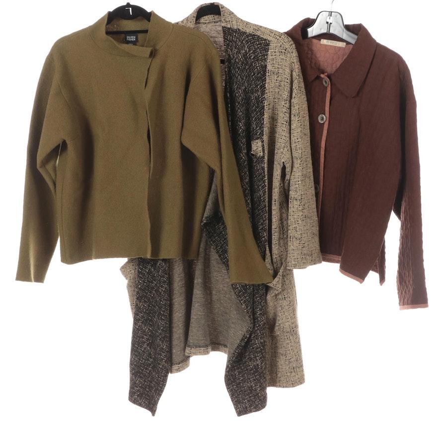 Eileen Fisher Short Jacket Boiled Wool, Aly-Wear Jacket and Asymmetric Jacket