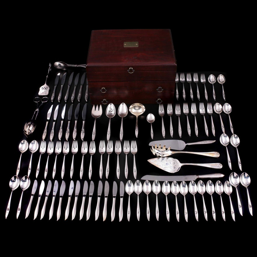 """Oneida Heirloom """"Belle Rose"""" Sterling Silver and Other Silver Plate Flatware"""