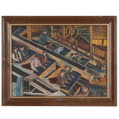 """Oil Painting of Factory Workers """"Breaker Boys,"""" Mid-Late 20th Century"""