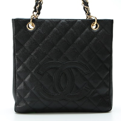 Chanel Quilted Petite Shopping Tote in Black Caviar Leather
