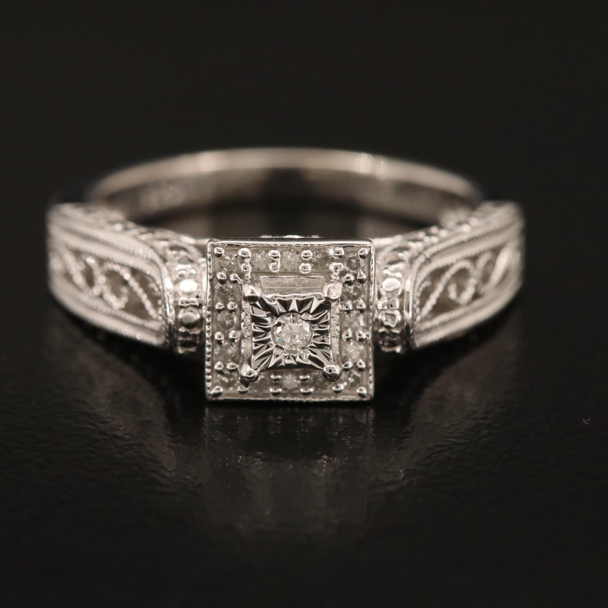 Sterling Diamond Ring with Scrollwork Shoulders