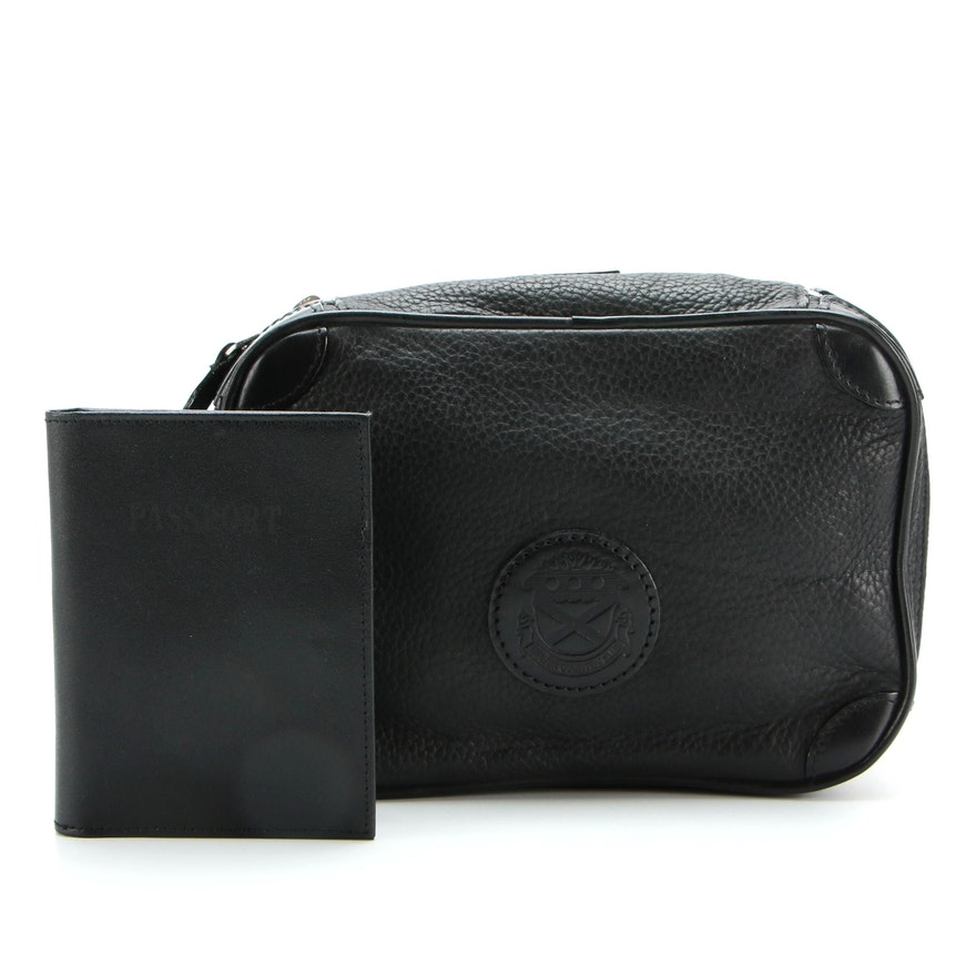 Mulholland Bel Air Country Club Dopp Kit and Unmarked Passport Case in Leather