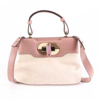 Bulgari Top Handle Bag in Herringbone Fabric and Leather with Quartz Turn Lock