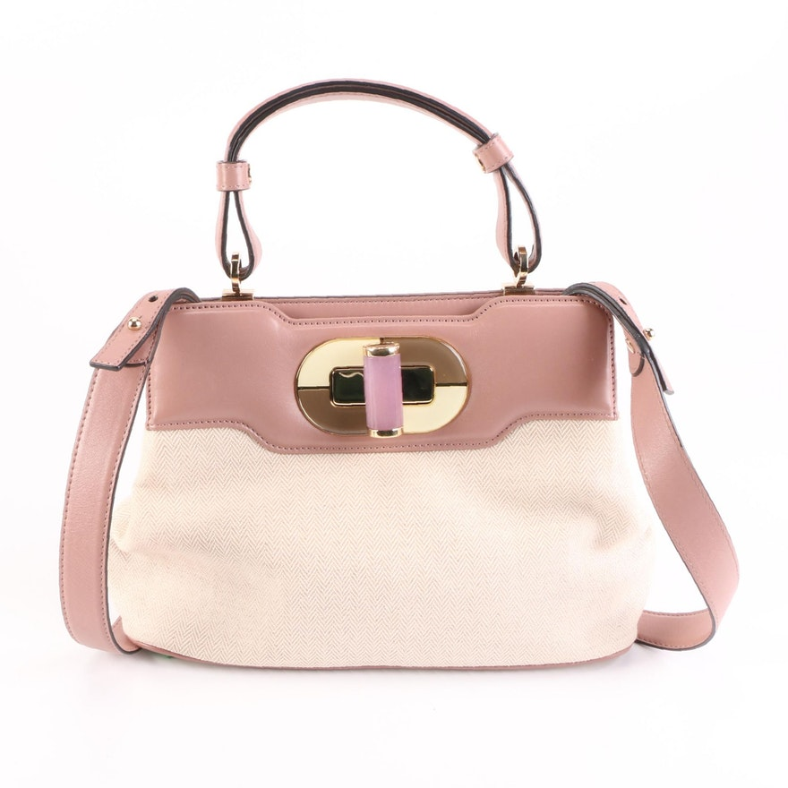 BVLGARI Top Handle Bag in Herringbone Fabric and Leather with Quartz Turn Lock