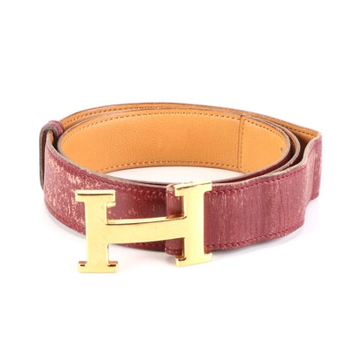 Hermès Constance Reversible Belt in Box Calf and Gulliver Leather