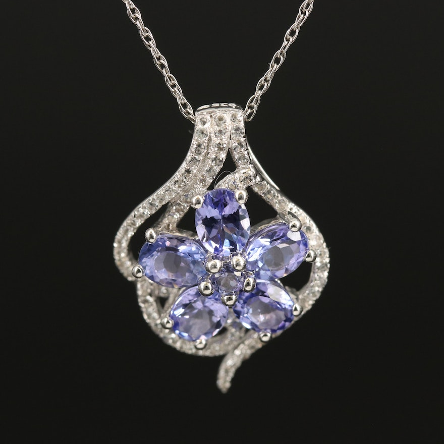 Sterling Floral Pendant Necklace with Tanzanite and Topaz