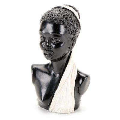 English Chalkware Blackamoor Female Figural Bust, Mid-20th Century