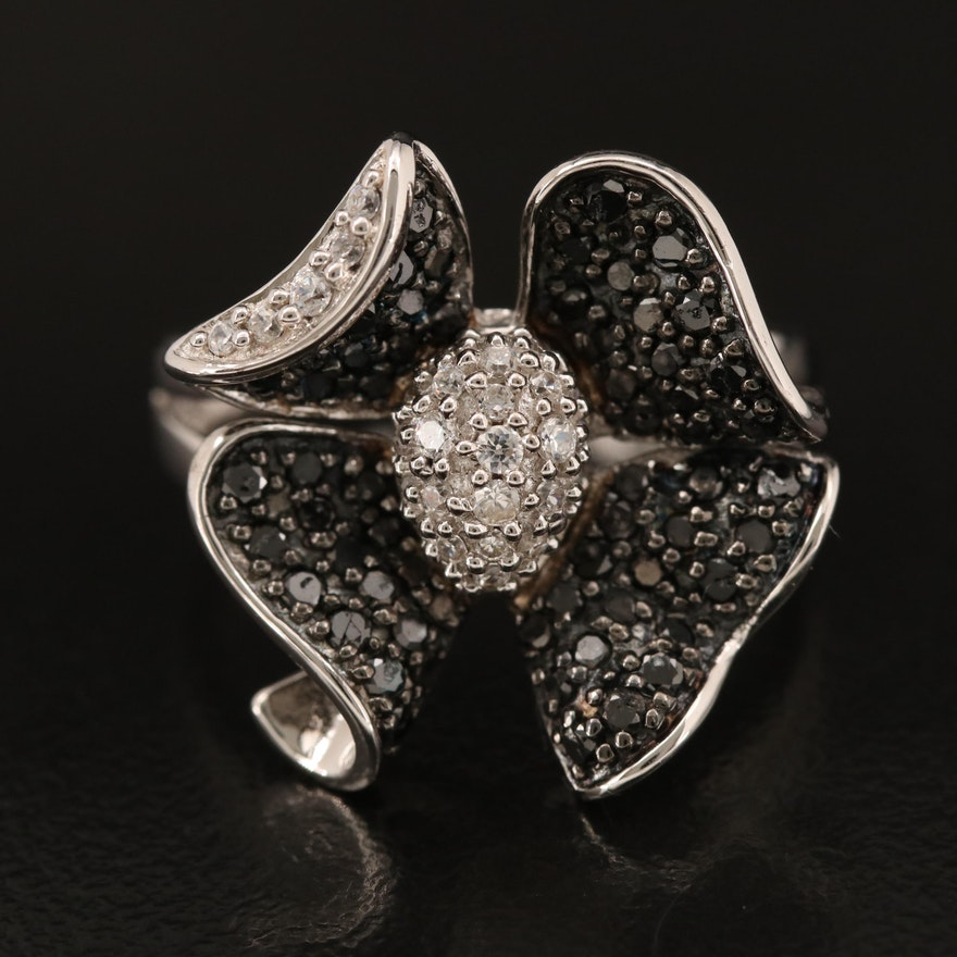 Sterling Diamond and Cubic Zirconia Floral Ring