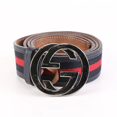 Gucci Web GG Interlocking Belt with Leather Trim