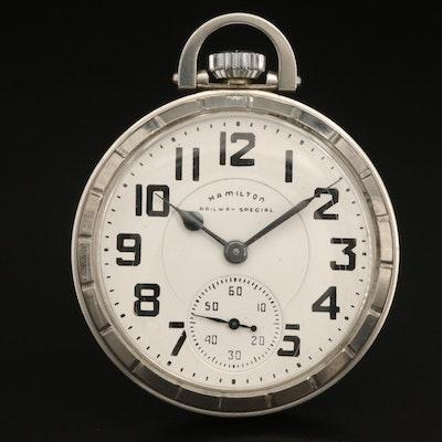 1964 Hamilton Railway Special Stainless Steel Pocket Watch