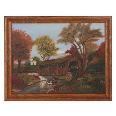 Folk Art Style Autumn Landscape Oil Painting