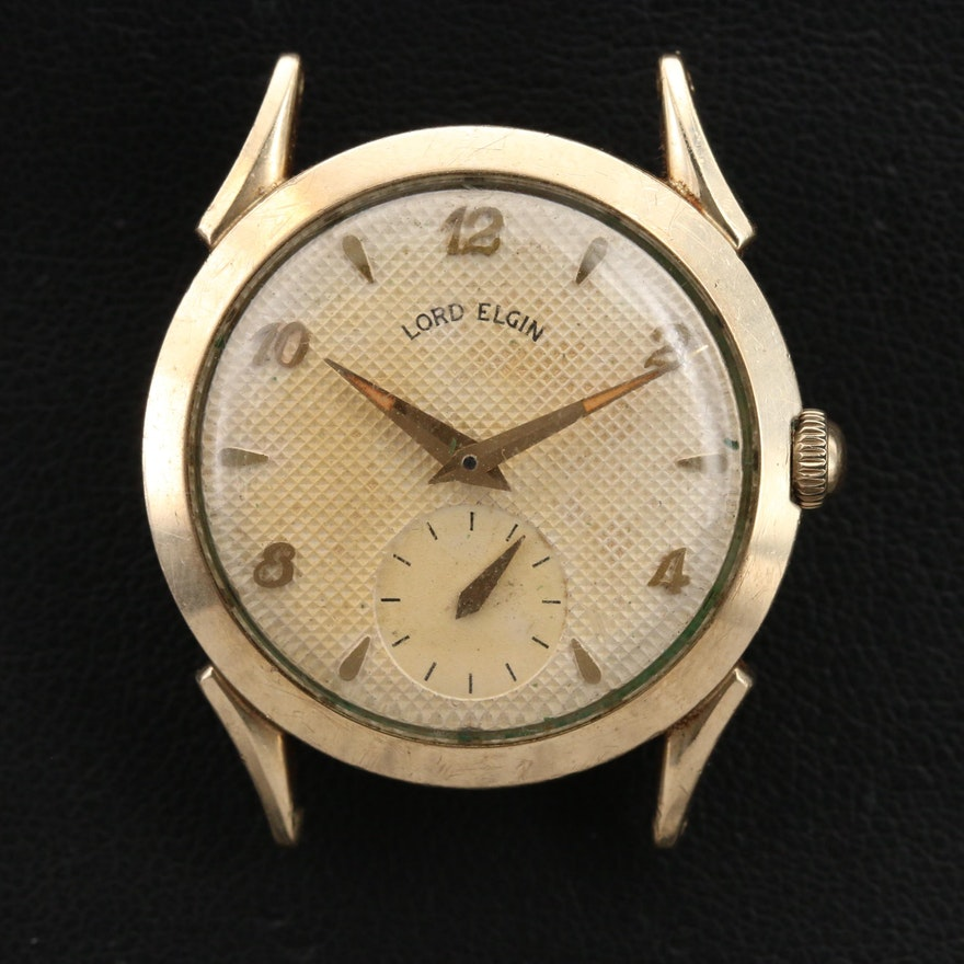 Vintage Lord Elgin Honeycomb Dial Gold Filled Stem Wind Wristwatch