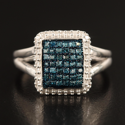 Sterling Diamond Halo Ring with Split Shoulders