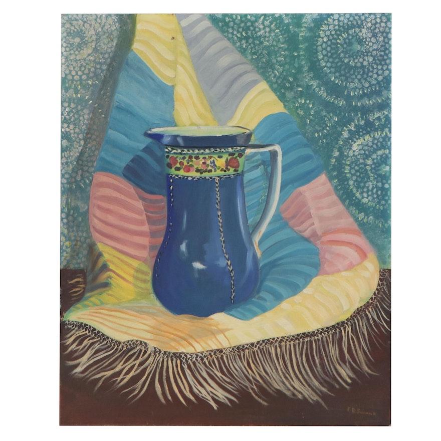 Still Life Oil Painting of Vase, Mid-20th Century