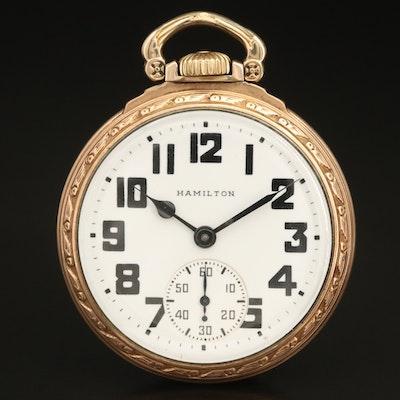 Vintage Hamilton Gold Filled Railroad Grade Pocket Watch