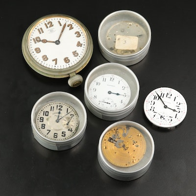 Elgin and Waltham Pocket Watch Movements Including Auto Clock