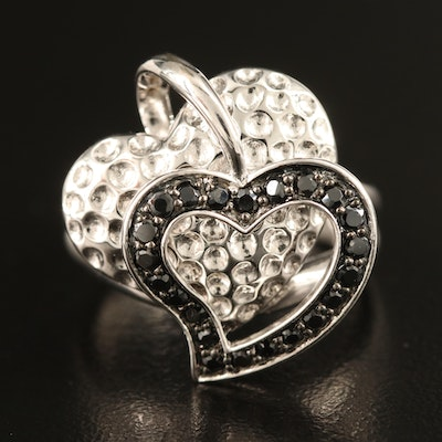 Sterling Spinel Double Heart Ring with Split Shoulders