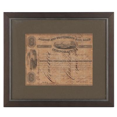Boston and Providence Railroad Stock Certificate, 19th Century