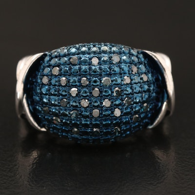 Sterling Blue Diamond East-West Ring