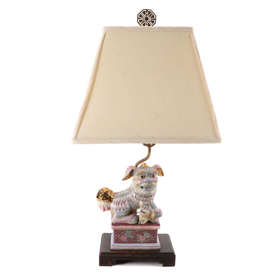 Chinese Guardian Lion Figural Gilt Ceramic Table Lamp