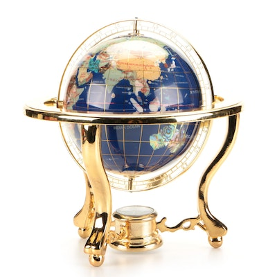 Abalone and Stone Inlaid Globe with Compass on Brass Stand