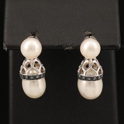 Sterling Pearl and Diamond Earrings