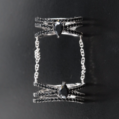 Sterling Cubic Zirconia Double Chain Crossover Rings