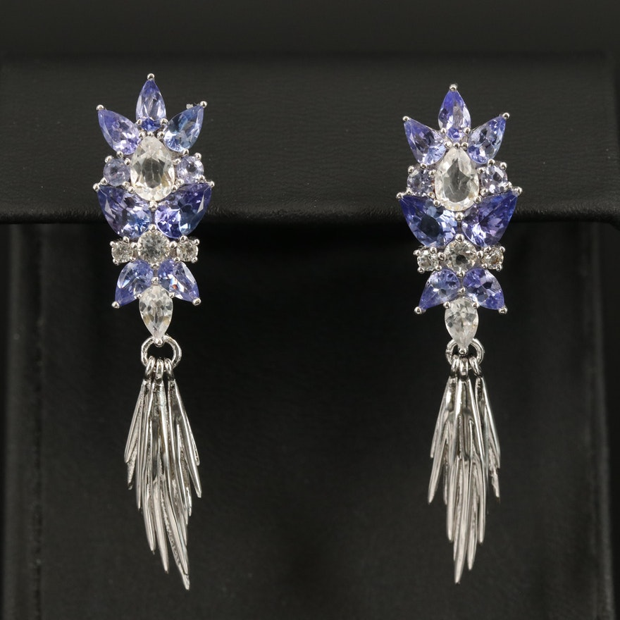 Sterling Tanzanite and Topaz Articulated Drop Earrings