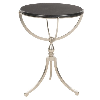 Contemporary Nickel-Finished Metal and Stone Top Side Table