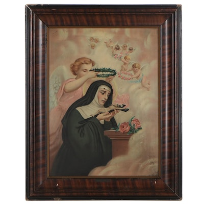 Chromolithograph of a Nun and Angels, Early-Mid-20th Century