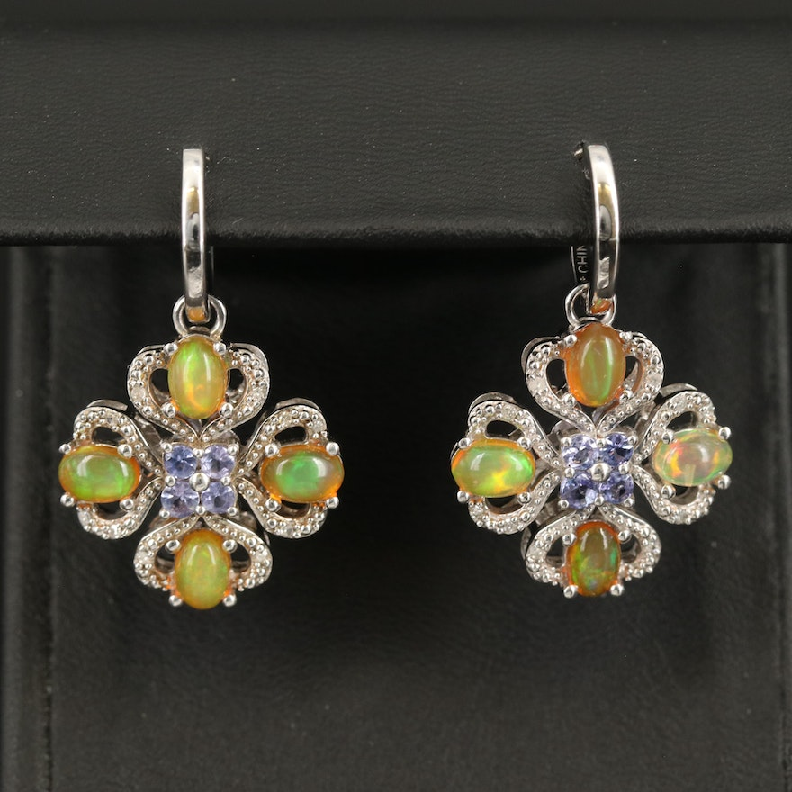 Sterling Opal, Tanzanite and Diamond Hoop Earrings with Removable Pendants