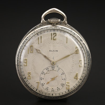 1927 Elgin Gold Filled Open Face Pocket Watch