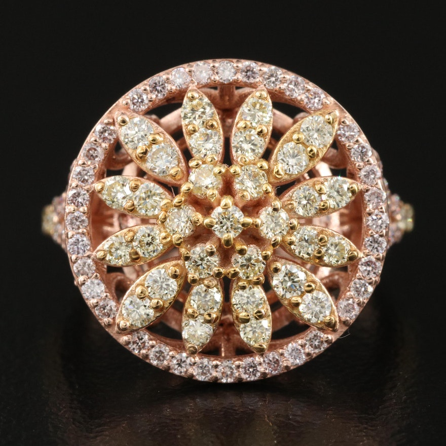 14K Rose Gold 1.21 CTW Fancy Yellow and Pink Diamond Floral Burst Ring