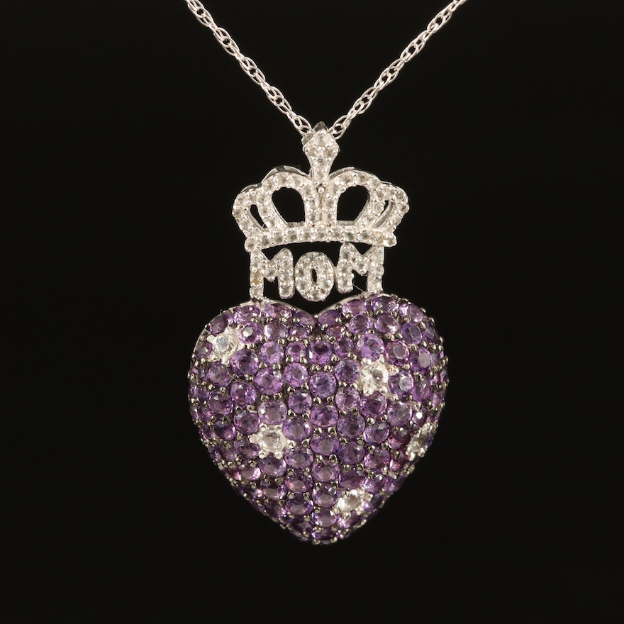 """Sterling Amethyst and Topaz Crowned """"Mom"""" Heart Necklace"""