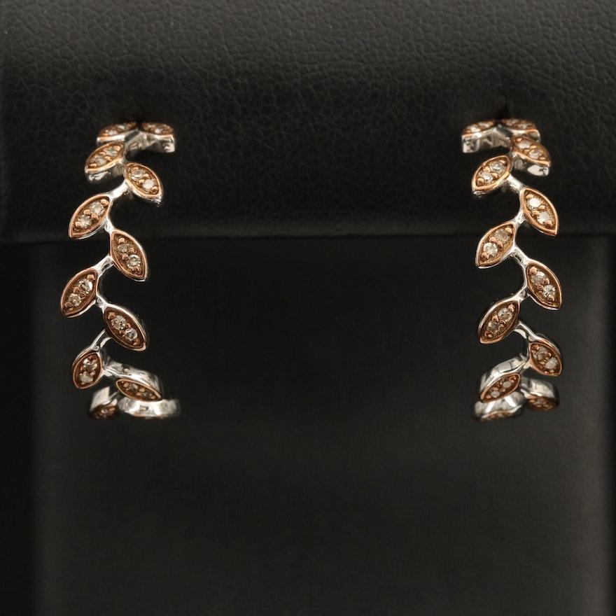 Sterling Diamond Foliate Half Hoop Earrings