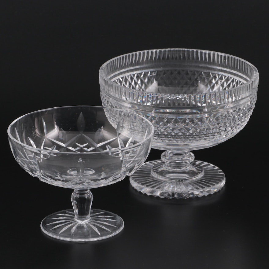 """Waterford Crystal """"Lismore"""" Compote with Other Patterned Compote"""