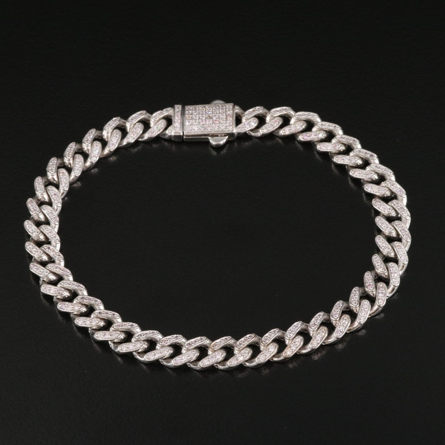 14K 2.08 CTW Diamond Curb Link Bracelet