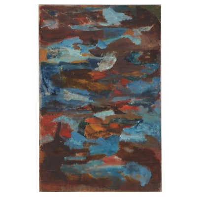 Bernice Fisher Stacy Large-Scale Abstract Oil Painting, Mid-20th Century
