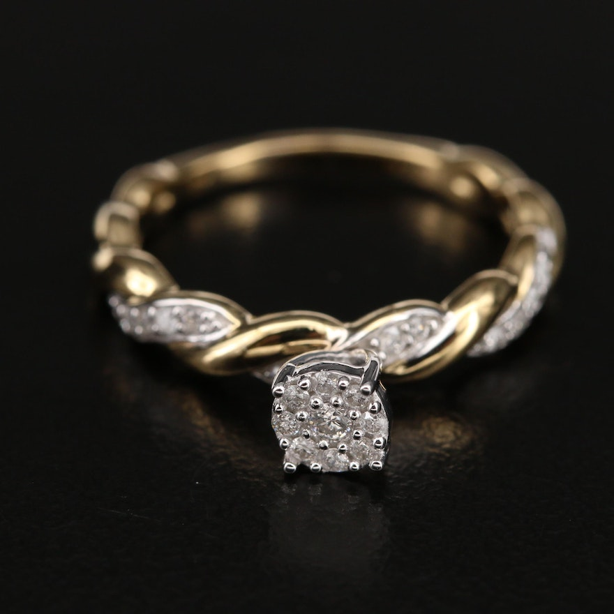 Sterling Diamond Ring with Braided Shoulders