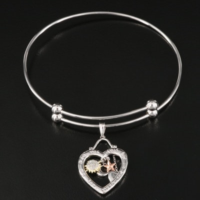 Sterling Diamond Charm Bangle with Heart, Sun and Moon Charm