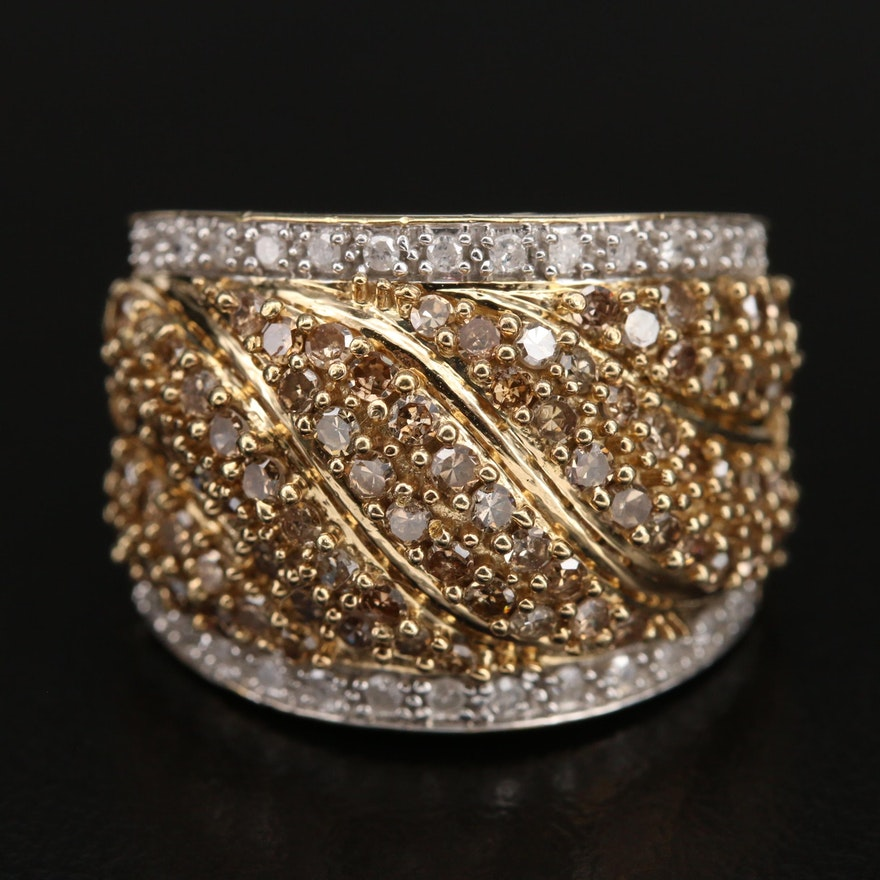 Sterling 1.45 CTW Diamond Wave Ring