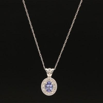 Sterling White Topaz and Tanzanite Halo Pendant Necklace