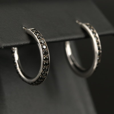 Sterling Cubic Zirconia Hoop Earrings
