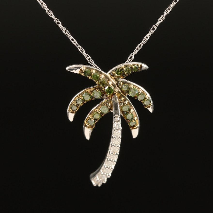 Sterling Silver Diamond Palm Tree Necklace
