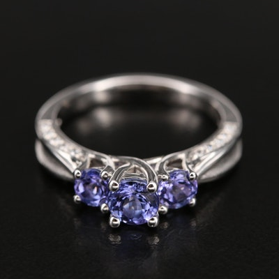 Sterling Tanzanite and Cubic Zirconia Ring