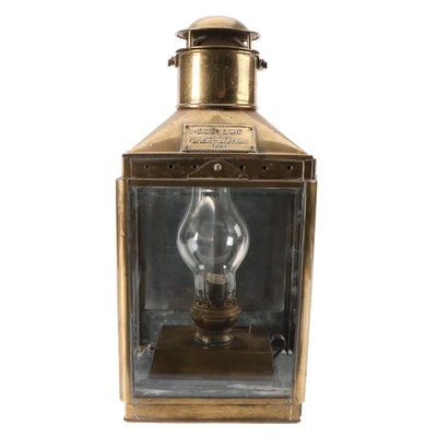 English Brass Cabin Light Nautical Kerosene Lantern, Early 20th Century