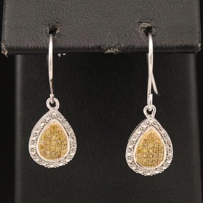 Sterling Pavé Yellow Diamond Earrings