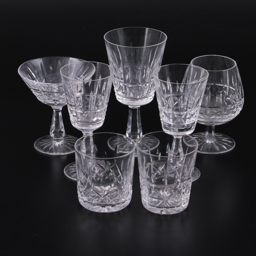 """Waterford Crystal """"Kylemore"""" Stemware  and """"Lismore"""" Tumbler, Late 20th Century"""