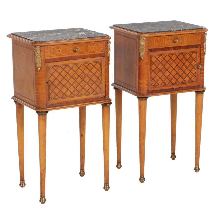 Louis XVI Style Gilt-Metal Mounted Parquetry and Marble Top Tables de Chevet