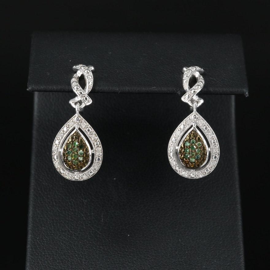 Sterling Diamond Teardrop Earrings